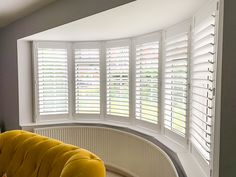 Interior Shutters for bay windows at The Shutter Studio Bay Window Shutters, Wooden Shutters, Bay Windows, Shaped Windows, Interior Shutters, Living Room Designs, Blinds, Neutral, Curtains