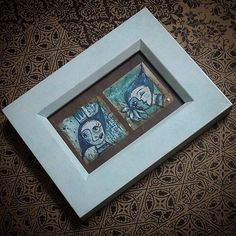 Framed these 2 inspired in a white / turquoise washed frame today.