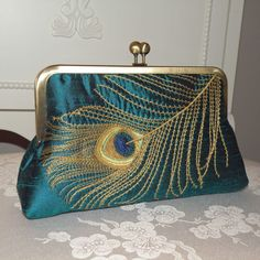 Peacock Feather Embroidered Silk Clutch/Purse  Teal  w/ Golden lining w Antique Gold Frame