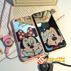 カップル向けペアケースキャラクターアイフォンiPhone8/7s/7/6sケース 6plusストラップ付き耐衝撃スマホケース iPhone7ミッキーマウス