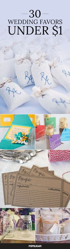 30 Wedding Favors You Won't Believe Cost Under $1: You're spending a lot on your wedding, so try to save on your favors by checking out these cute ideas that barely cost a thing! #CheapWeddingFavors