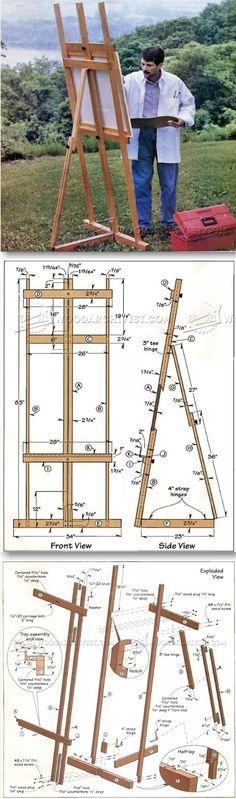 DIY Art Easel - Woodworking Plans and Projects - Woodwork, Woodworking, Woodworking Plans, Woodworking Projects Kids Woodworking Projects, Woodworking Furniture Plans, Easy Wood Projects, Teds Woodworking, Project Ideas, Woodworking Skills, Art Easel, Diy Art, Planer