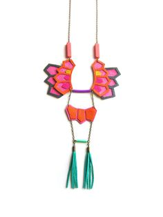 Geometric Necklace Leather Hexagon and Teal by BooandBooFactory, $54.00