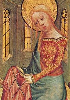 """Madonna knitting Christ's seamless garment"" (fragment), by Meister Bertram von Minden (1335-1415)."