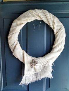 Warm and cozy scarf wreath...with a touch of bling! by ToastyBarkerBoutique
