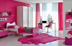 Divine modern pink bedrooms feature white wooden bed frames canopy and pink color covered bedding sheets and pink wall paint color along with track lighting. Description from opicos.com. I searched for this on bing.com/images