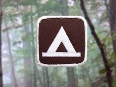 """Tent Camping Patch - Iron or Sew On - 2.5"""" - Embroidered Square Appliqué - Brown Outdoor Recreation Activity Park Sign - Hat Bag Accessory by NoffHouseShop on Etsy https://www.etsy.com/listing/244312587/tent-camping-patch-iron-or-sew-on-25"""