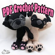 PDF Amigurumi / Crochet Pattern Sleepy Eye Dog - PUG CP-14-3230~