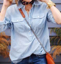 Blue striped shirt + scarf