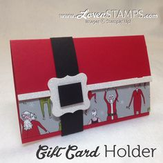 Santa & Co Designer Series Paper cracks me up. fun way to decorate this easy gift card holder (includes directions link). Project by LovenStamps Christmas Gift Card Holders, Holiday Cards, Christmas Cards, Gift Cards Money, Get Gift Cards, Cadeau Design, Paper Gifts, Belt Buckle, Card Making