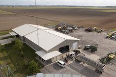 Aerial view of a Morton Buildings insulated farm shop in Eldorado, Illinois.