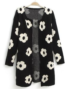 Black Long Sleeve Sunflower Pattern Cardigan - Sheinside.com