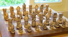 Ganine Gothic Chess Set Classic Grim Faces Solid Heavy Cast Antiqued 625   eBay
