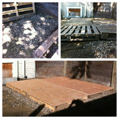 "Build your own deck / stage from pallets and plywood. 1) Use gravel or river rocks to level the area you want to use 2) It is easiest if you use pallets that are approx. 48"" square as the standard size of plywood is 4x8 feet. 3) You will need one sheet of plywood for every two pallets, I used the 1/2 inch thickness. 4) Lay out pallets and level, then lay plywood on top. 5) Use screws to attach the plywood to the pallets (this will make it easy if you need to disassemble or move)"