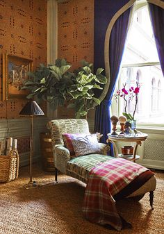 Kips Bay 2014 ~ Alexa Hampton -Chaise, fiddle leaf fig, wallpaper, throw, orchids and drapes