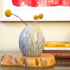 Ceramic Blue Grass Bud Vase, via Etsy. #jeneceramics #madeinla #jenkuroki