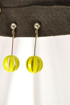 Vintage 60s Mod Earrings Yellow Dangling Ball by ThriftHound2000, $8.00