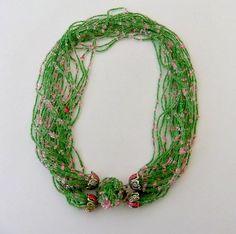 Japan Green Pink Glass Seed Bead Multi Strand by ediesbest on Etsy, $12.95