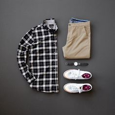 Flannel, Chinos and Sneakers, Clean, Classic and Simple! #flannel #sneakers #mensfashion