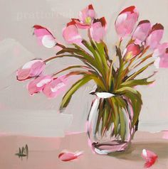 pink tulips on the table | angela moulton's painting a day