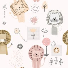 Graphic Art Prints, Cute Lion, Jungle Animals, Banner Template, Animal Party, Illustration, Vector Free, Floral Drawing, Texture