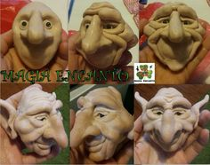 Sculpting Tutorials, Scroll Saw Patterns Free, Kobold, Polymer Clay Figures, Clay Faces, Wood Carving Patterns, Christmas Figurines, Doll Tutorial, Doll Crafts