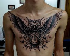 wing chest tattoos for men owl and time