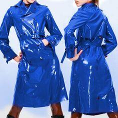 Blue Raincoat, Plastic Raincoat, Latex Fashion, Rain Wear, Jacket Buttons, Wish Shopping, Navy Blue, Shirt Dress, How To Wear