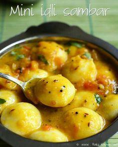 Mini idli sambar - Learn tips and tricks to get a drinkable, mild flavorful sambar for mini idlies! Veg Recipes, Indian Food Recipes, Vegetarian Recipes, Cooking Recipes, Kitchen Recipes, Cooking Tips, Idli Sambar, Idli Recipe, Vegetarian