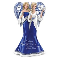 A Sister Reaches For Your Hand But Holds Your Heart - Blue Willow-Inspired Sisterly Love Angel Figurine