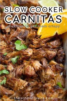 A simple recipe for delicious Crockpot Pork Carnitas! This Mexican classic comes together in no time using flavorful pork butt, spices, onion, oranges, and beer! With a special trick to get your carnitas tasting better than what you get at a restaurant! Perfect for filling tacos, burritos, quesadillas, and more!