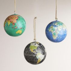 One of my favorite discoveries at WorldMarket.com: Paper Globe Ornaments, Set of 3 $10.50