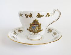 Leo Tea Cup and Saucer Leo Zodiac Teacup Regal Bone China