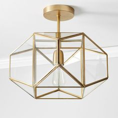 Metal and Glass Flushmount - gold - Lighting - Ceiling Lighting - Pottery Barn Teen Entryway Light Fixtures, Entryway Lighting, Cool Light Fixtures, Living Room Light Fixtures, Closet Lighting, Bathroom Lighting Fixtures, Pantry Lighting, Entryway Chandelier, Contemporary Light Fixtures