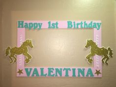 Unicorn Carousel Pink Gold Mint Birthday Photo Booth Frame to Take Pictures | eBay