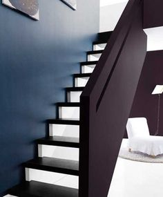 For current home. Modern Interior Paint Colors and Home Decorating Color Schemes, Color Design Trends 2013 Modern Interior, Interior And Exterior, Interior Design, House Color Schemes, House Colors, Azul Indigo, Indigo Colour, Dark Blue Walls, White Stairs