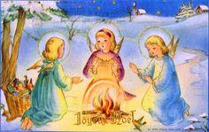 Joyeux Noël - Dans la campagne enneigée trois anges à genoux se réchauffent les mains à un feu, une hotte pleine de jouets posée à côté - 1958 (from http://mercipourlacarte.com/picture?/1402/)