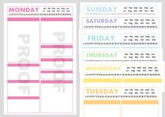 Printable half size planner pages, download and print as many copies as you want.  blank section headings to label and organize your day as you wish.
