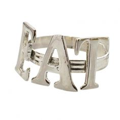 Silver EAT Napkin Ring --- Quick Info: Price £2.95 Our Silver EAT Napkin Rings add a quirky touch to your dinner table and make it instantly more decorative and inviting. --- Available from Roman at Home. Images Copyright www.romanathome.com