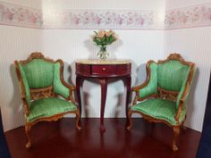 1 inch scale Bespaq dollhouse miniature furniture hand carved Marcee chairs
