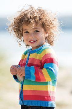 Frugi Happy Day Cardigan - Rainbow Stripe Retro Baby Clothes - Baby Boy clothes - Danish Baby Clothes - Smafolk - Toddler clothing - Baby Clothing - Baby clothes Online