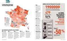 """double page """"la désindustrialistaion en France"""" / Les Inrockuptibles © 2012"""