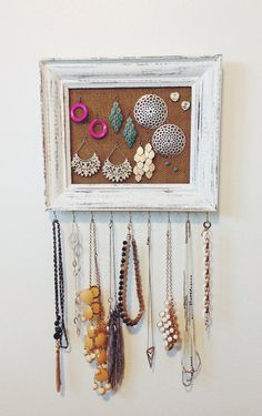 Framed Burlap Jewelry Hanger / White Distressed Hooks by TradeFare, $25.00