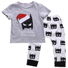 2016 Baby Boy Clothes Batman Set Baby Boy Girls Christmas Outfits Tops+Batman Pants 2pcs Clothes Set(China (Mainland))