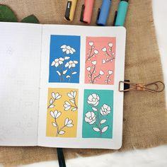 Color Block Flower Doodles Illustration