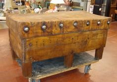 I would die to have this butcher block table. Butcher Block Island, Butcher Block Tables, Butcher Blocks, Grey Kitchen Inspiration, Black Dog Salvage, Victorian Kitchen, Primitive Kitchen, Architectural Antiques, Funky Junk