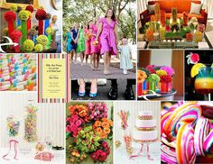 I like the idea of multi colored bridesmaid dresses for a candy themed wedding