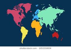 color world map vector