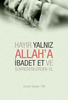Hayır yalnız Allah'a ibadet et ve şükredenlerden ol. (Zümer Suresi 66 Meali)