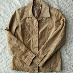 Suede leather jacket Camel color.  Preloved with some signs of wear but lots of life left. 100% soft suede like leather shell. a.m.i. Jackets & Coats
